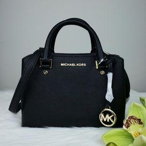 🌺NWT Michael Kors SM Savannah Satchel bag black